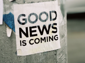 2020-01-18 18_29_01-white Good News Is Coming paper on wall photo – Free Sticker Image on Unsplash